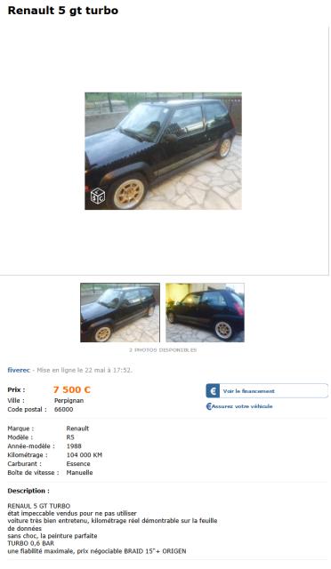Renault 5 gt turbo Voitures Pyrénées-Orientales - leboncoin.fr 2015-06-23 13-27-20